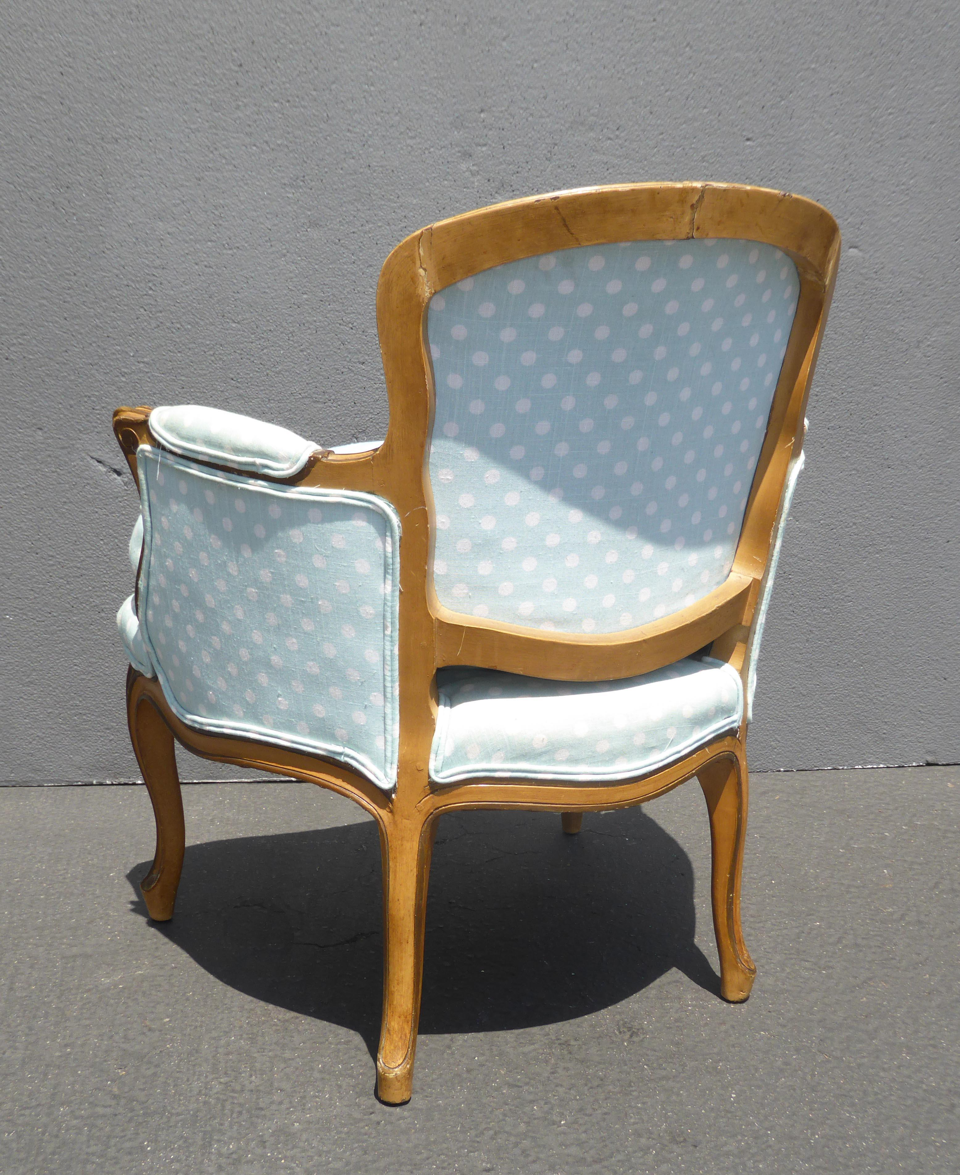 Vintage French Provincial Baby Blue Accent Chair W Down Cushion For Sale    Image 11 Of