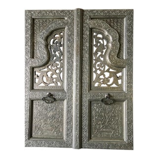 Moroccan Style Decorative Hammered Window Shutter Panels - a Pair For Sale