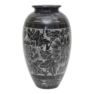 Engraved Black Marble Vase For Sale