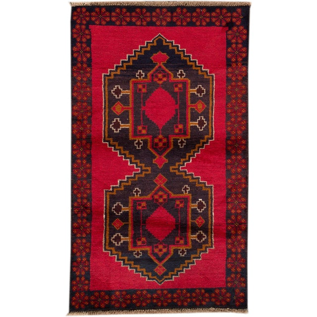 """Vintage Hand-Knotted Balouch Wool Rug, 2'8"""" X 4'7"""" For Sale - Image 4 of 4"""