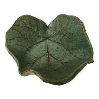 Forest Green Footed Studio Art Pottery Leaf Bowl For Sale