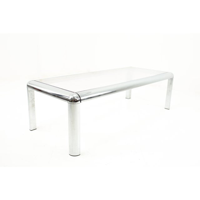 Mid Century Chrome and Glass Coffee Table For Sale In Chicago - Image 6 of 9