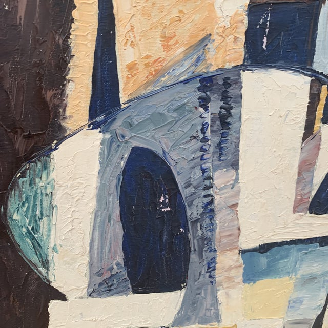 """This is a midcentury French abstraction of Notre Dame signed """"Darwin"""" in lower right corner. On verso is an article..."""