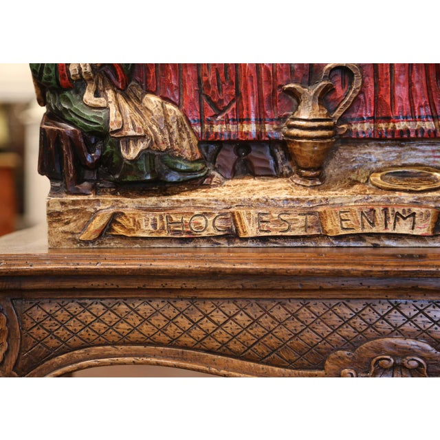 """Oxblood Red Mid-20th Century Spanish Carved Polychromed and Gilt """"Last Supper"""" Sculpture For Sale - Image 8 of 10"""
