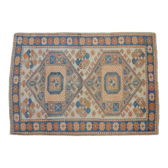 Vintage Low Pile Turkish Rug Hand Knotted Small Area Rug - 3′ X 4′4″ For Sale