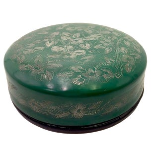 1900s Asian Green and Silver Round Lidded Lacquer Box For Sale