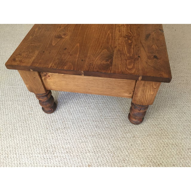 Country Vintage Bun-Foot Coffee Table For Sale - Image 3 of 11