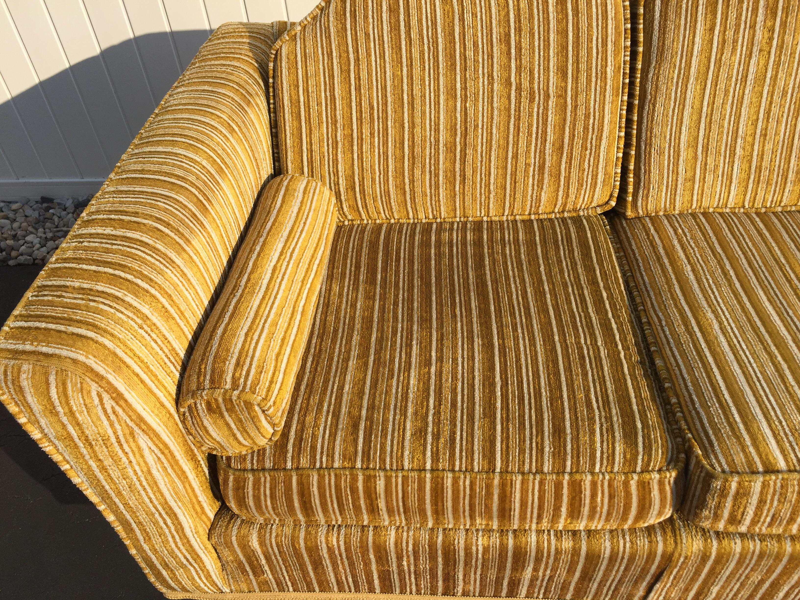 Kroehler Royale Mid Century Gold Striped Sofa   Image 8 Of 11