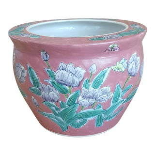 Vintage Rose Pink Butterfly and Floral Asian Cachepot