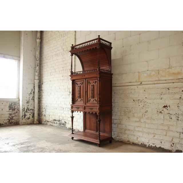 French Antique Carved Oak Tall French Bar Cabinet For Sale - Image 3 of 13