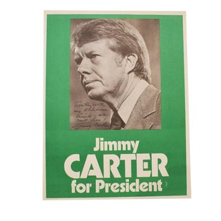 Jimmy Carter Political Flyer Print Copy in Green for Oklahoma Campaign For Sale