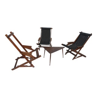 Vintage Outdoor Folding Chairs & Table - Set of 4