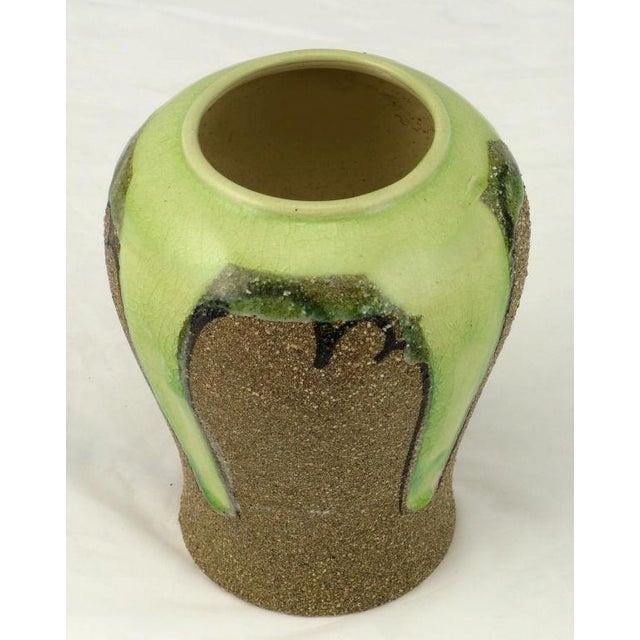 Asian Ginger Jar Shaped Vase In Celery & Rough Sand Glaze For Sale - Image 3 of 4
