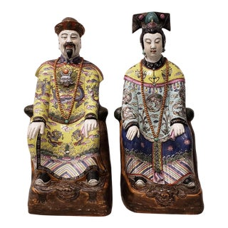 Chinese Emperor & Empress Large Scale Porcelain Figures Early to Mid 20th Century For Sale