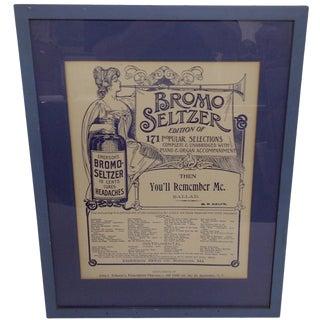 Vintage Bromo Seltzer Advertisement Poster For Sale