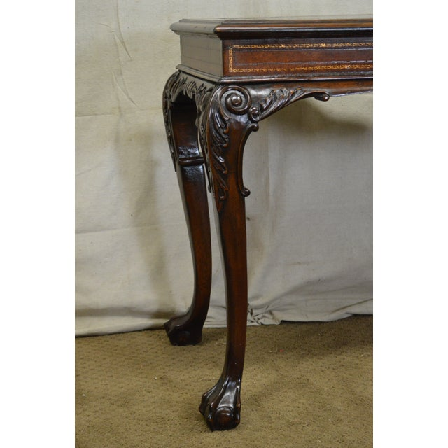 Chippendale Georgian Style Carved Mahogany Tooled Leather