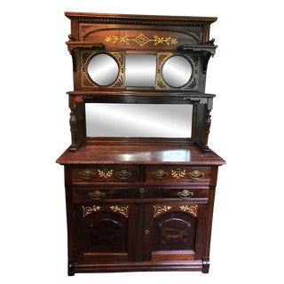 Antique Eastlake Victorian Carved Walnut Marble Top Mirrored Sideboard Server For Sale