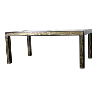 Acid Etched Bernhard Rohne for Mastercraft Dining Table For Sale