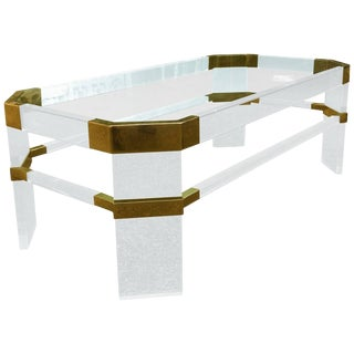 "Lucite and Brass Coffee Table by Charles Hollis Jones ""Metric, Clipped Corner"" For Sale"