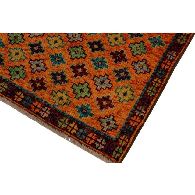 Boho Chic Balouchi Esmerald Orange/ Blue Wool Rug - 3'7 X 4'11 For Sale - Image 3 of 8