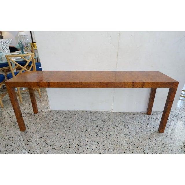 Mid-Century Modern Milo Baughman Burlwood Console Table For Sale - Image 10 of 10