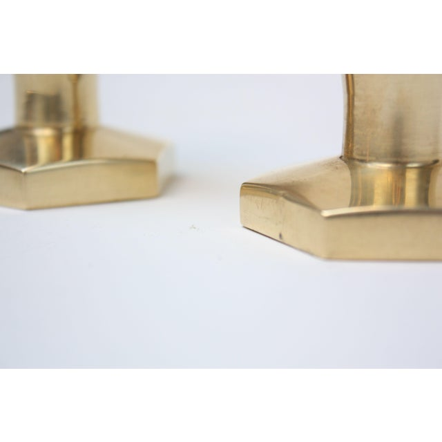 Solid Brass Hexagonal Candlesticks - A Pair For Sale In New York - Image 6 of 8