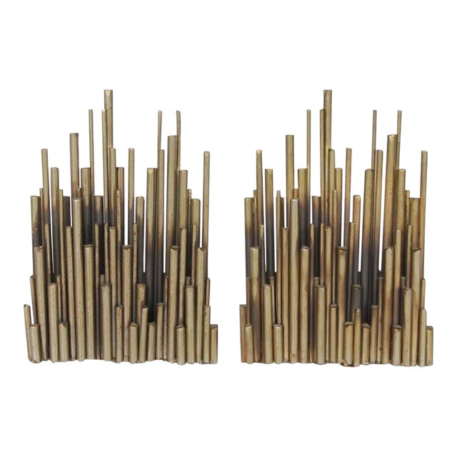 Curtis Jere Modern Brass Bookends - A Pair For Sale