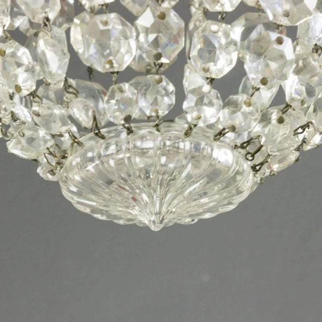 1940s French Crystal and Glass Pendant Ceiling Fixture - Image 4 of 11