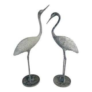 Vintage Metal Egrets - a Pair For Sale