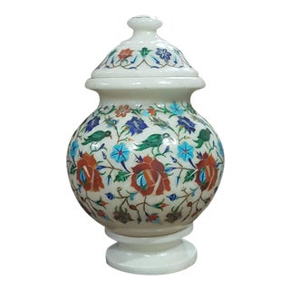 Marble Inlaid Urns With Detachable Lid and Bottom Rest Base For Sale