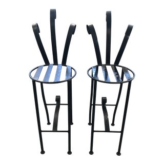 Late 20th Century Vintage Hollywood Regency Heavy Wrought Iron Barstools With Sweeping Rolled Back- a Pair For Sale