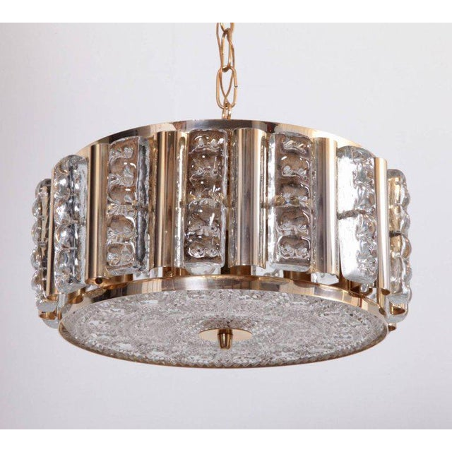 1960s Pair of Carl Fagerlund Pendant Lamps in Brass and Orrefors Glass by Lyfa For Sale - Image 5 of 5