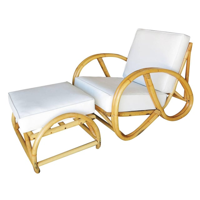 Restored 3/4 Pretzel Rattan Lounge Chair and Ottoman by Seven Seas Rattan For Sale - Image 11 of 11