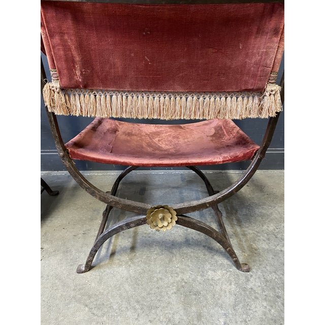 Metal 19th Century Italian Campaign Curule Chairs - a Pair For Sale - Image 7 of 11