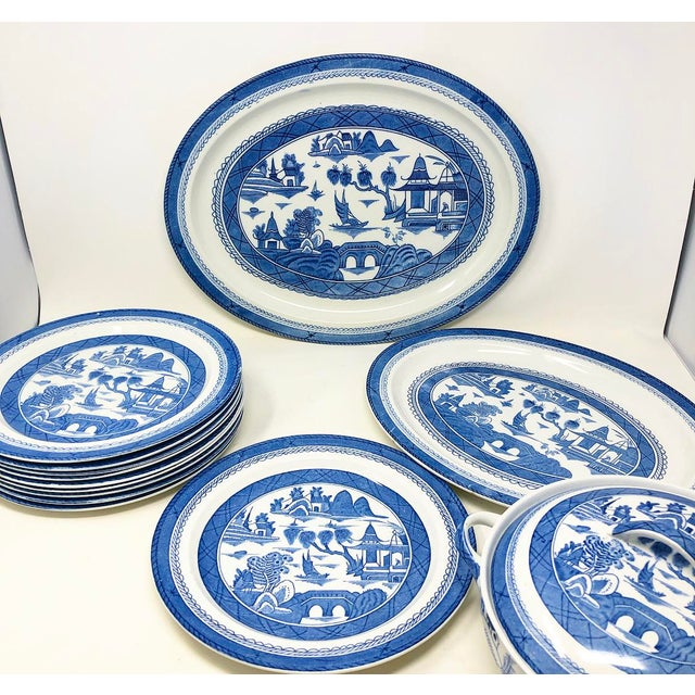 Blue Antique Blue & White Canton Pattern China Collection - Set of 14 For Sale - Image 8 of 13