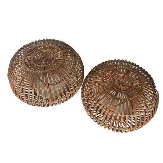 "Mid Century Modern Side Tables Albini Rattan Ottomans 24"" - A PAIR For Sale - Image 12 of 12"