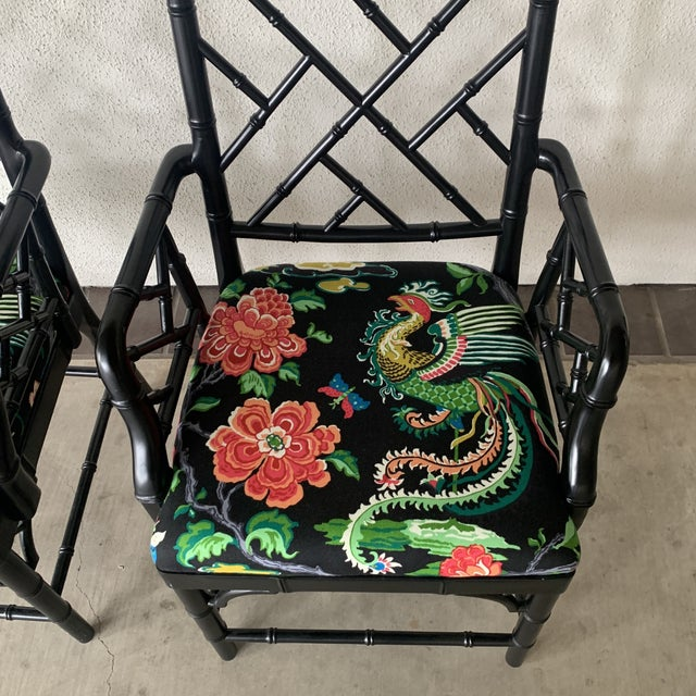1980s Black Bamboo Chairs- a Pair For Sale - Image 5 of 13