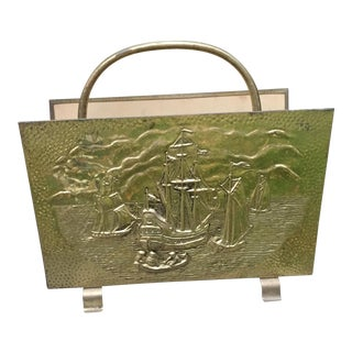 Vintage English Repousse Brass Ship Magazine Rack For Sale