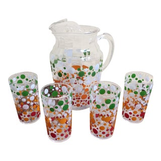 1950s Vintage Retro Polka Dot Pitcher & Glasses - Set of 5 For Sale