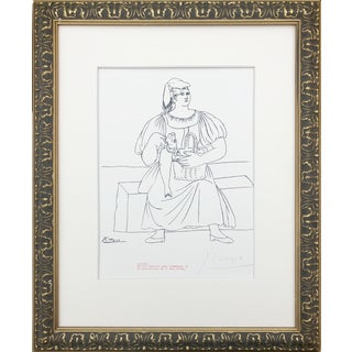 Picasso Pencil Signed Edition Lithograph of a Woman With Fish 1969 For Sale