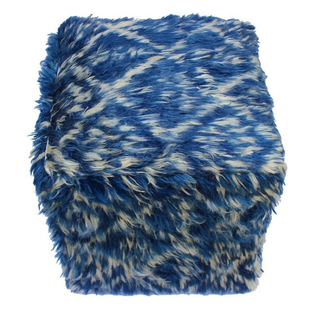 Boho Chic Corine Blue/Ivory Morrocan Wool Upholstered Handmade Ottoman For Sale - Image 4 of 8