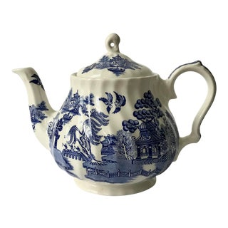 Antique English Blue Willow Chinoiserie Transferware Teapot For Sale