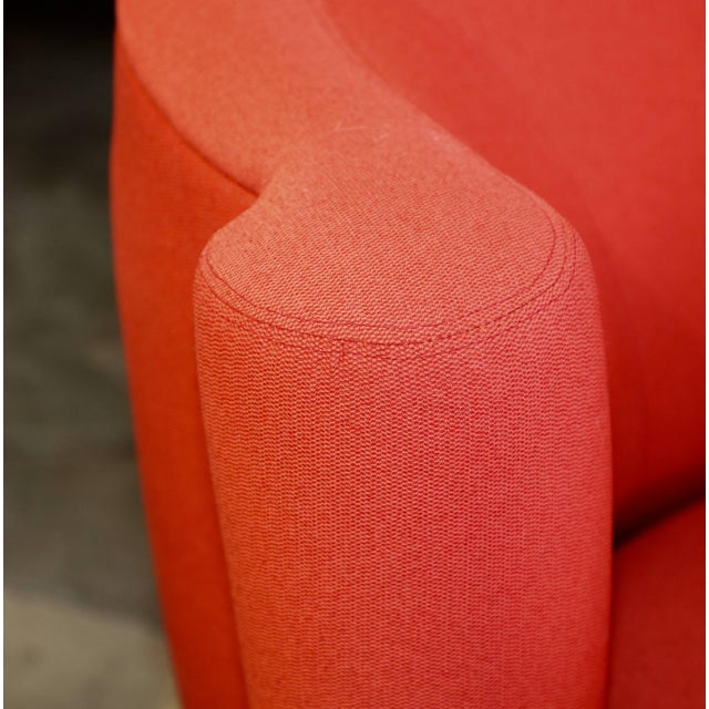 Orange Vladimir Kagan for Weiman Chairs With Large Ottomans With Labels- A Pair For Sale - Image 8 of 12