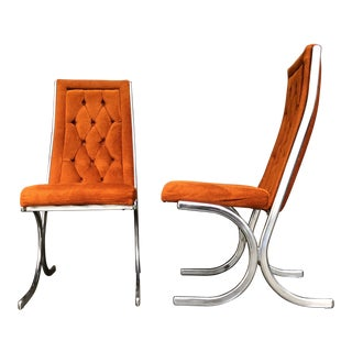 Mid Century Modern Retro Daystrom Style Howell Mfg. Orange Velvet and Chrome Chairs - Pair