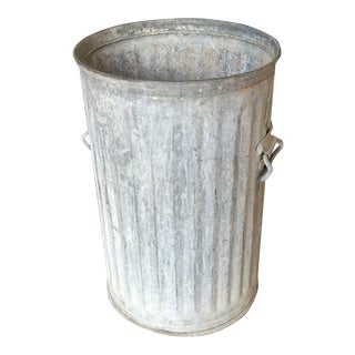 Vintage Galvanized Metal Barrel Bucket For Sale