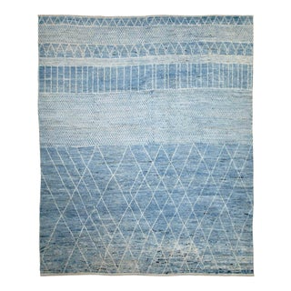 Afghan Moroccan Style Rug With White Tribal Details on Blue Field For Sale