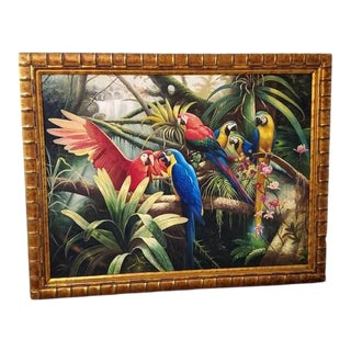 Macaws Framed Oil Painting on Canvas For Sale
