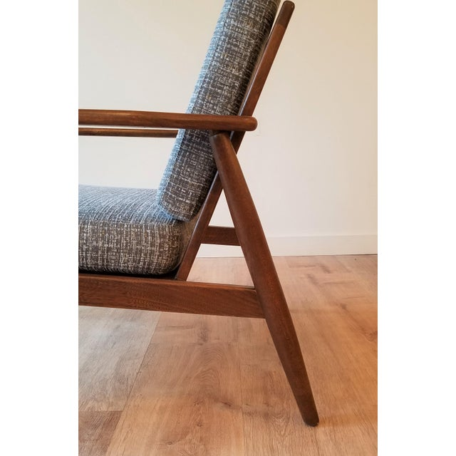 Brown Newly Upholstered Viko Baumritter Walnut Armchair For Sale - Image 8 of 12