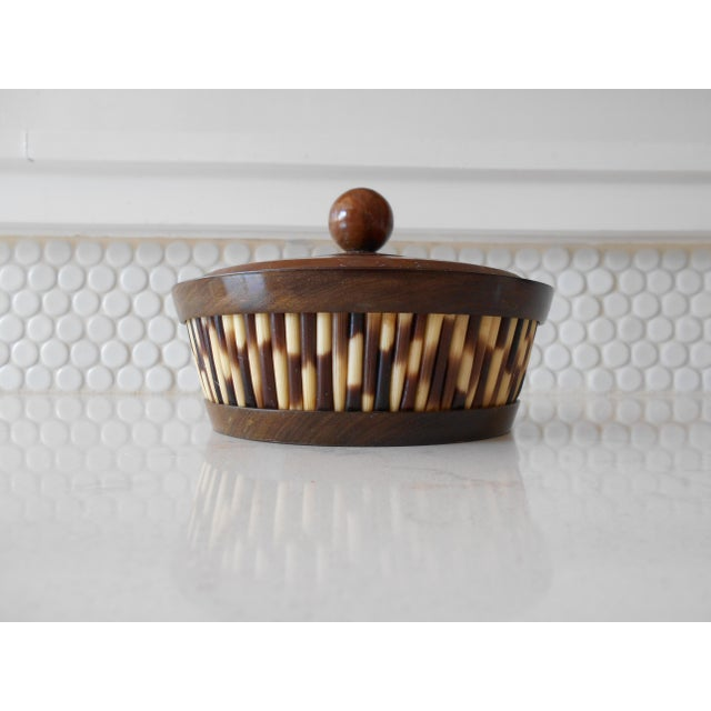 African Ethiopian Olive Wood & Porcupine Quill Lidded Bowl For Sale - Image 3 of 6