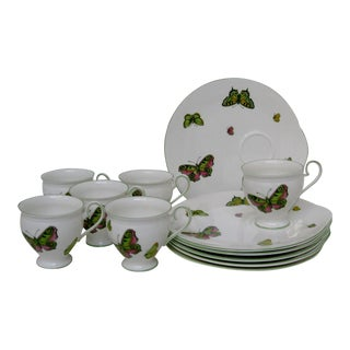 Crown Staffordshire Snack Set - 12 Pieces For Sale